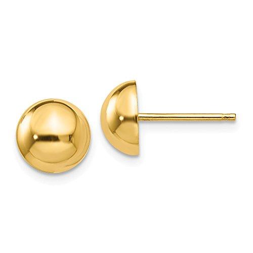 ow Polished 8mm Half Ball Post Earrings ()