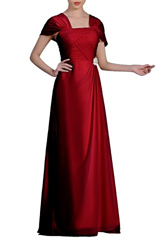 Mother Of The Bride Groom (Formal Pleated Chiffon Bateau Sleeveless Sheath Long Mother Of The Bride Groom Dress, Color Burgundy,Customized)