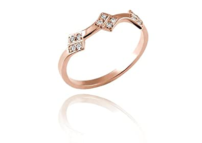 Douce Tiare - Bague tendance Or Rose 18 carats et 0,09 carat de diamants 7a1a68f16815
