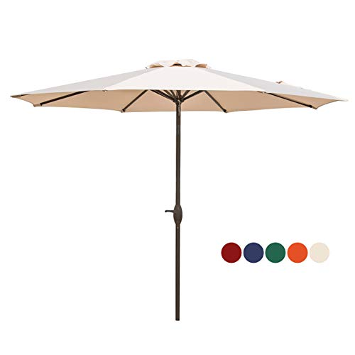 HASLE OUTFITTERS Patio Umbrella 9FT Table Umbrella Outdoor Market Umbrella with Tilt Adjustment and Crank Lift System Beige ()
