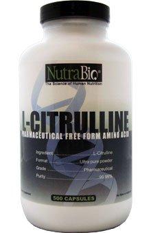 NutraBio L-citrulline (500 mg) - 500 capsules végétales
