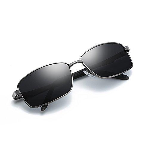 Polarized Sunglasses for Men Driving Fishing Mens Sunglasses Rectangular Metal Frame 100% UV Protection Gunmetal - Width Sunglasses