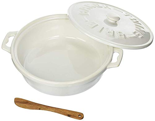 Christina Home Designs White Brie Baker, 3 piece set includes base, lid and wooden spoon