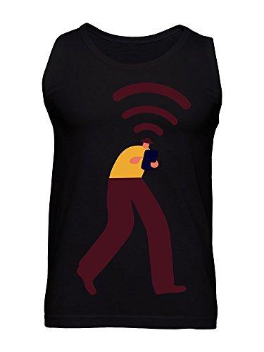 Walking Man Wifi Signal Symbol Art Hipster Men's Tank Top