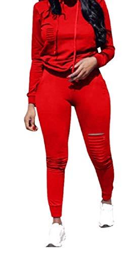 BAYY Women's Vogue Solid 2 Piece Broken Hole Sweatsuit Set Red S