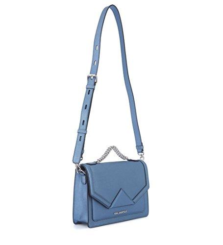 Borsa a mano Karl Lagerfeld Klassic in pelle saffiano azzurra