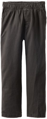 - Wes & Willy Boy's Twill Flat Front Pant, Black, 6