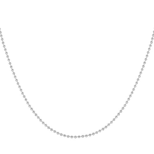 Verona Jewelers 925 Sterling Silver Italian 1.5MM, 2MM Silver Bead Ball Chain Necklace, Sterling Silver Bead Necklace, Silver Ball Necklaces, Italian Bead Necklace, Silver Beaded Necklace (18, - Sterling Silver Beaded Necklace