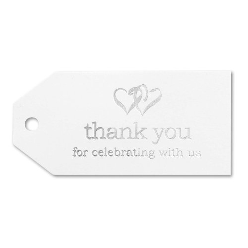 Hortense B. Hewitt Linked at The Heart Favor Tags, 3-Inch, White/Silver