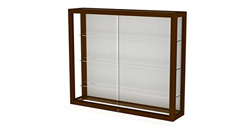 Heirloom Series Display Case - Heirloom Series Wall Display Case Frame Color: Carmel Oak, Case Backing: White