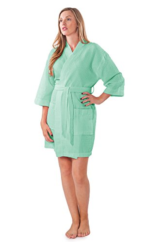 Turquaz Linen Lightweight Knee Length Waffle Kimono Bridesmaids Spa Robe (Small/Medium, Mint Green)