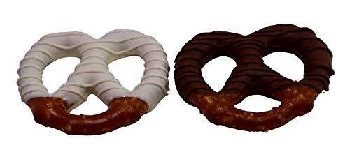 LuluPops by Lina, Large White and Milk Chocolate Dipped Pretzels - 18 Count