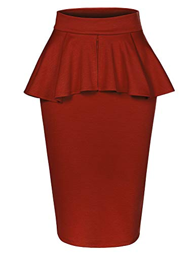 LE3NO Womens Slim Fit Work Office High Waisted Ruffle Pencil Midi Skirt with Stretch,Red,X-Large