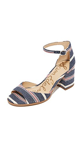 Multi Women's Edelman Blue Dress Stripe Americana Sam Sandal Susie Ypgp4W