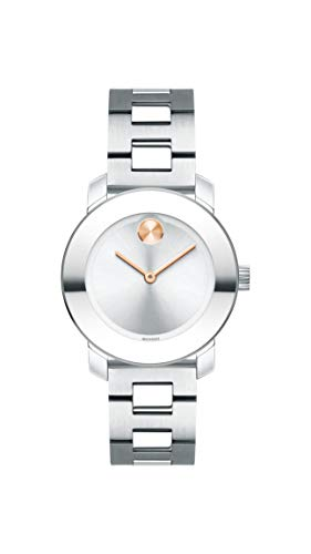 Movado Women's BOLD Iconic Metal Stainless Watch with a Flat Dot Sunray Dial, Silver/Grey (3600433) (Bracelet Gold Movado)