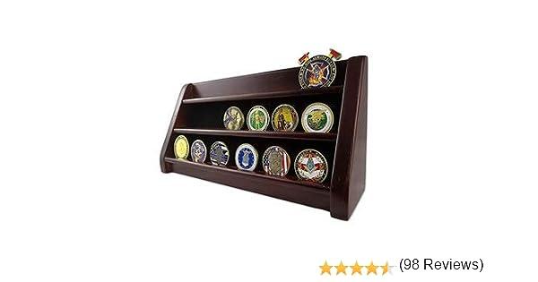 AtSKnSK® 3 Filas Estante Challenge Moneda Display Stand Casino Chip Holder Rack, Acabado de Caoba: Amazon.es: Hogar