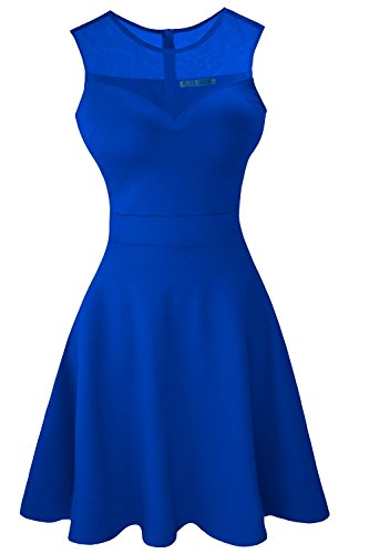 - Sylvestidoso Women's A-Line Sleeveless Pleated Little Blue Cocktail Party Dress (L, Blue)