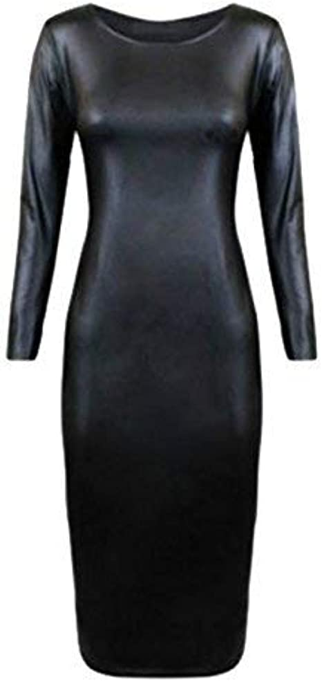 LADIES WOMEN/'S CAP SLEEVE PVC WET LOOK FAUX LEATHER BODYCON MIDI DRESS SIZE 8-26