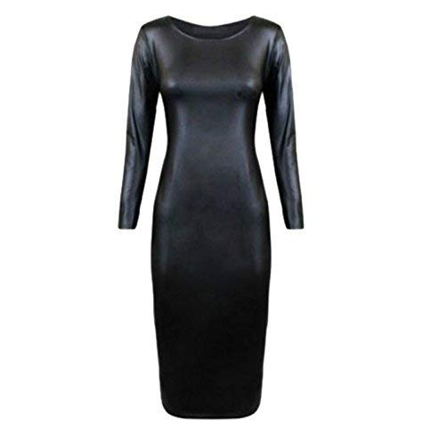 NEW WOMENS WET LOOK PVC LEATHER LONG SLEEVE MIDI DRESS TOP PLUS SIZE 8-26