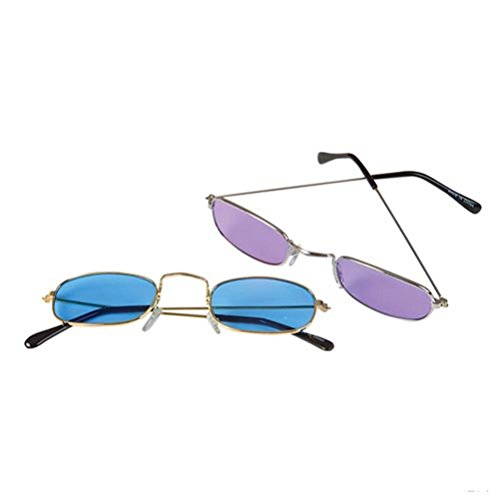 Blue Green Novelty Square Colored Ben Franklin Style Sunglasses 1 Pair (colors vary) (Founding Fathers Costumes)