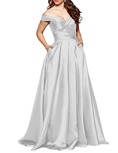 Martha Lia Long Off Shoulder Prom Evening Dress Pocket Formal Bridesmaid Gown Silver