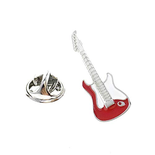 Cuff-Arts Pin Music Red Guitar Lapel Pin Badges Buttons Pins with a Gift Box P10124