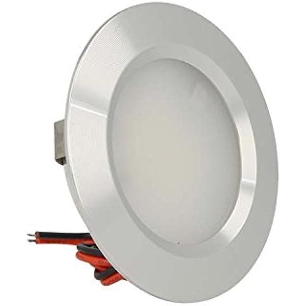 Mini foco LED empotrable redondo 3 W AC/DC 12V DC 24V, orificio 50 mm, carcasa de aluminio satinado: Amazon.es: Iluminación