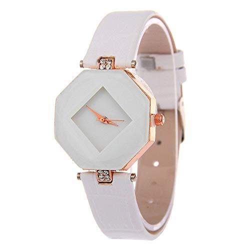 Women Watches Gem Cut Geometry Crystal Leather Quartz Wristwatch Fashion Watch Gifts Clock 5 ()