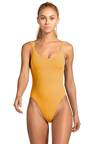 (Vitamin A Women's Leah Ribbed Over The Shoulder One Piece Swimsuit Swimsuit Marigold Ecorib 8)