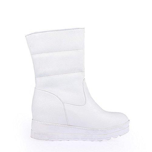 AllhqFashion Damen Weiches Material Rund Zehe Zweifarbig Niedrig-Spitze Wedges Stiefel Weiß