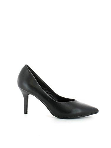 Decolte donna tacco cm 9 nere punta comodo con cinturino decollete camoscio