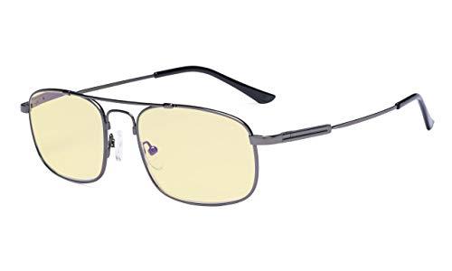 - Eyekepper Blue Light Glasses Men Women-Computer Reading Glasses-Memory Titamiun Frame Spring Hinges Double Bridge-Gunmetal +2.00