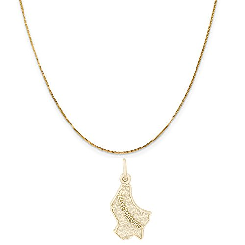 """Rembrandt Charms 14K Yellow Gold Luxembourg Map Charm on a 14K Yellow Gold Curb Chain Necklace, 16"""""""