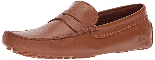 Moccasin Style Shoe - Lacoste Men's Concours Shoes,Tan leather,10 Medium US