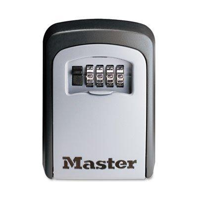 Locking Combination 5 Key Steel Box, 3 7/8w x 1 1/2d x 4 5/8h, Black/Silver, Sold as 1 Each
