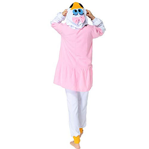 HKSNG Daisy Duck Adults Animal Footed Pajamas Kigurumi Onesies Cosplay Costumes (L(168-178cm)) ()