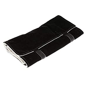 TOOGOO Jewelery roll Jewelery Bag, Made of Velvet, for Ring, for Jewelry Storage When Traveling - Black & Gray, Large