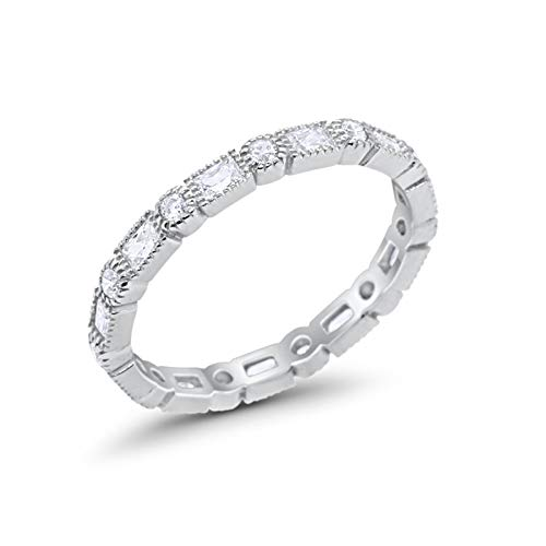 Sterling Cz Rings - Blue Apple Co. 3mm Art Deco Full Eternity Wedding Band Baguette Round Simulated Cubic Zirconia 925 Sterling Silver Size-6