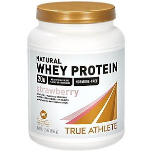 True Athlete Natural Whey Protein Strawberry, 20g of Protein per Serving Probiotics for Digestive Health, Enzymes for Protein Digestion NSF Certified for Sport (1.5 Pound Powder) For Sale