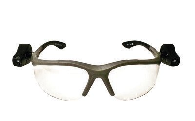 3M Light Vision 2 Safety Glasses With Gray Nylon Frame, Clear Polycarbonate Anti-Fog Lens And Dual LED Lights, Microfiber Bag And Lanyard