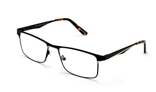 Men Rectangular Stainless Steel Non-prescription Glasses Frame Clear Lens Metal Eyeglasses - Wide Fitment - Prescription Glasses Frame Wide