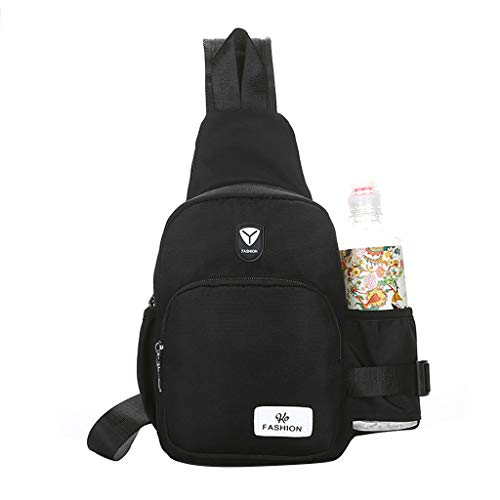 Crytech Women Fashion Sport Multi Purpose Sling Bag with Bottle Holder Water Resistant Crossbody Shoulder Chest Backpack Travel Casual Canvas Dayback for Men Outdoor Cycling Hiking (Black)