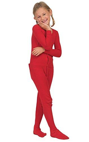 PajamaGram Big Girls Christmas Pajamas - Girls Onesie Pajamas, Dropseat, Red, 10