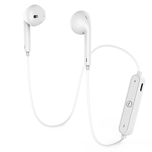 TOPLAY Wireless Sports Bluetooth Headphones, Earphones Stereo with Mic Bass Noise Cancellation Bluetooth V4.1 for Gym Running Workout 8 Hour Battery Noise Canceling Headsets (White)