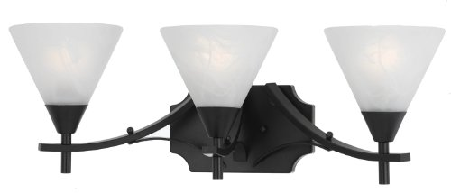 (Triarch International 33310/3 Value Series 310 3-Light Vanity Fixture with White Swirl Glass Shades, English Bronze Finish)