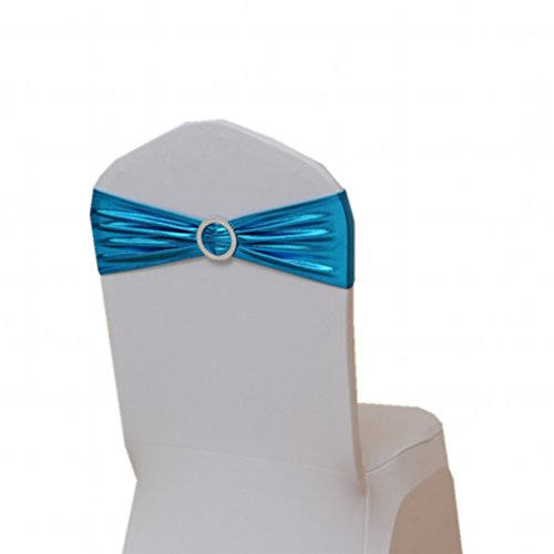 Fvstar 20pcs Baby Blue Party Chair Sashes Bows Wedding Chair Cover Tie Ribbons for Baby Shower Birthday Valentines Decorations Without White Covers -