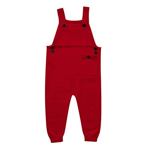 Fineser(TM Toddler Baby Boys Girls Knitted Overalls Strap Rompers Jumpsuit Kids Warm Playsuit Outfits (Red, 4T)