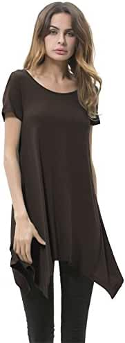 Solatin Womens Loose Fit Comfy Flattering Swing T Shirt Tunic Tops