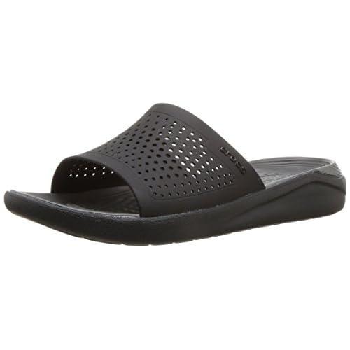 chollos oferta descuentos barato Crocs LiteRide Slide Sandalias de Punta Descubierta Unisex Adulto Negro Black Slate Grey 0dd 36 37 EU