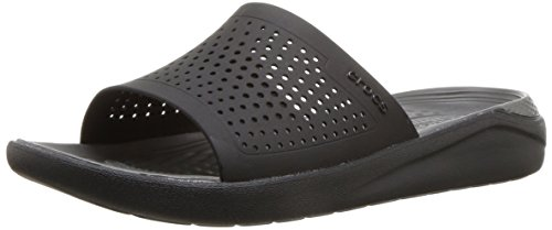 Crocs Unisex-Adults Literide Slide Sandal, Black/Slate Grey, 8 US Men/10 US Women by Crocs